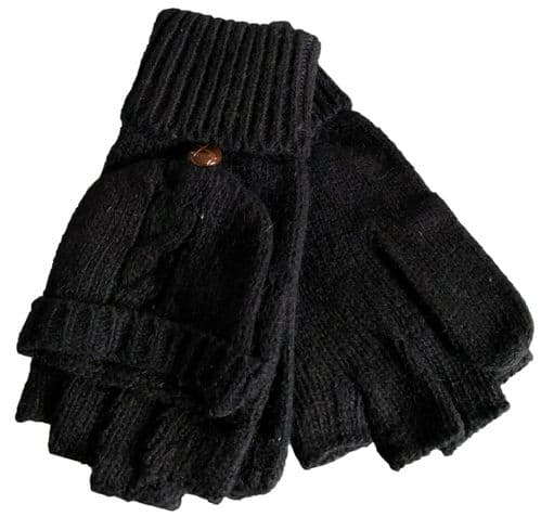 Fingerless Black Gloves Ladies Girls Convertible Cable Knitted Winter Mittens